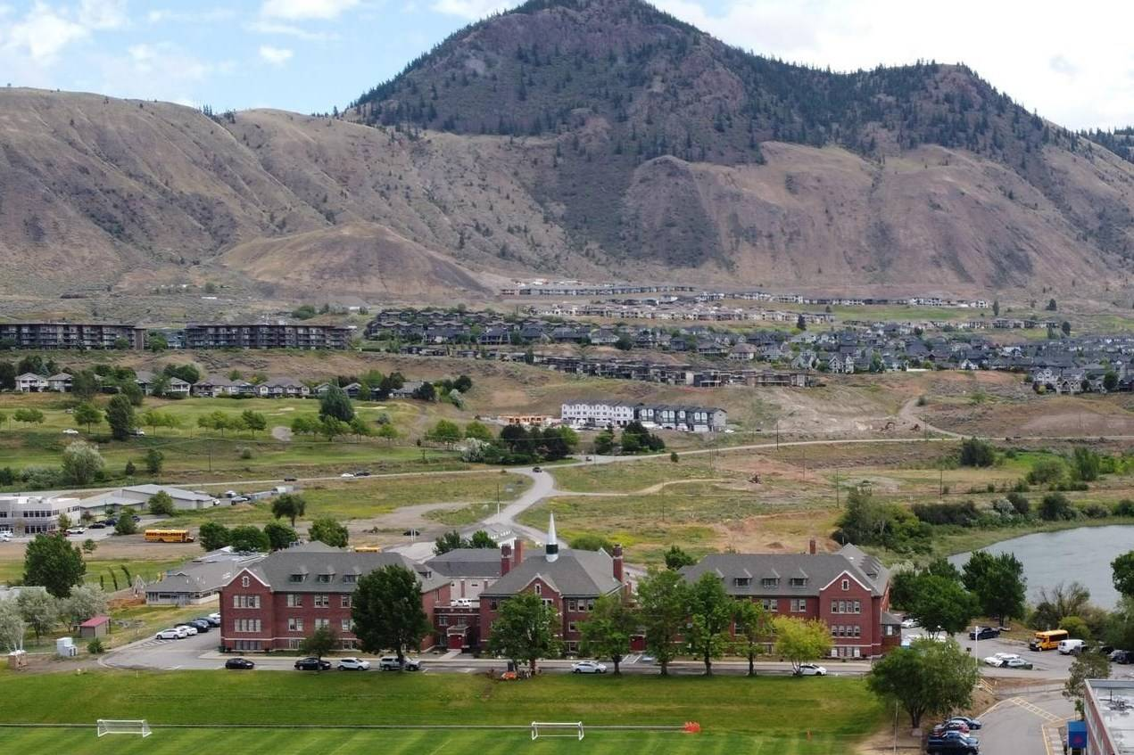 The Kamloops Residential School is photographed using a drone in Kamloops, B.C., Monday, June, 14, 2021. Responding to complaints from an Indigenous girl and her mother, the Nova Scotia government has deleted a section from a high school correspondence course that asks students to list the positive attributes of the residential school system. THE CANADIAN PRESS/Jonathan Hayward