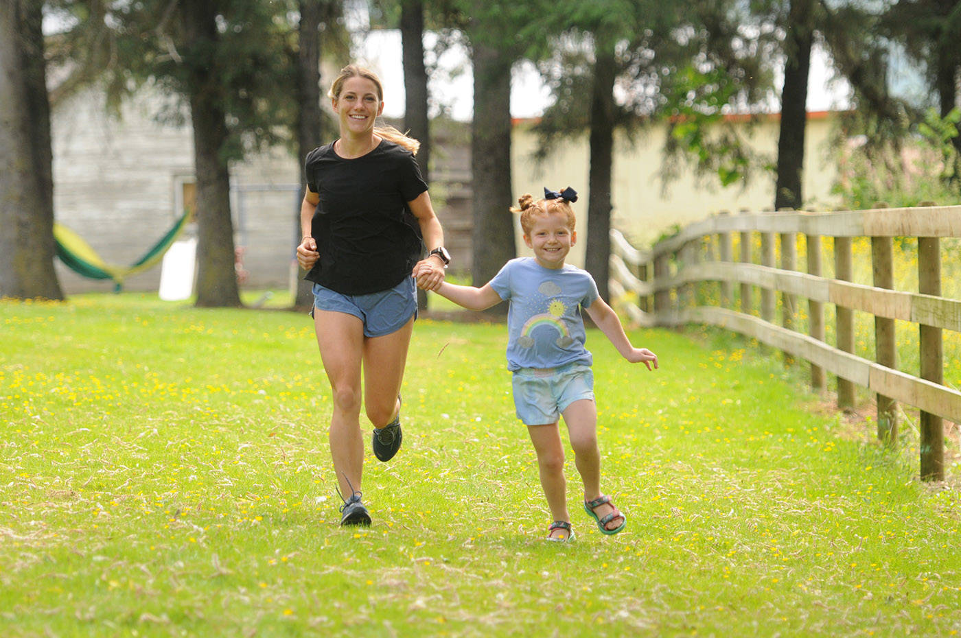 """Kalyn Head, nanny to five-year-old Jenny Francis, will be running 100 kilometres for her """"birthday marathon"""" on July 23. They are seen here on June 4, 2021. (Jenna Hauck/ Chilliwack Progress)"""