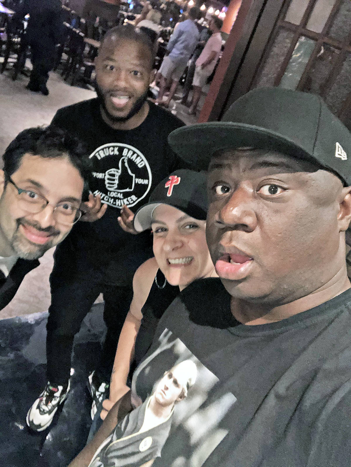 """Susan Thompson with Las Vegas comedy locals (L to R) Carlos Rodriguez, Charlie Wilson, Thompson and fellow Canadian and national touring headliner Frankie """"Trixx"""" Agyemang. (Special to Langley Advance Times)"""
