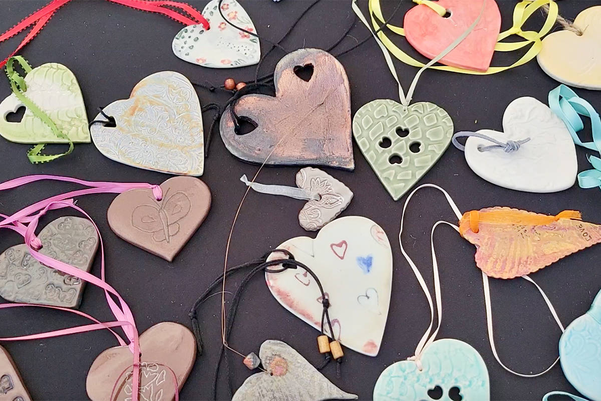 Some of the ceramic hearts on sale at Saturday's fundraiser at the Fort Langley Community Hall. (Dan Ferguson/Langley Advance Times)