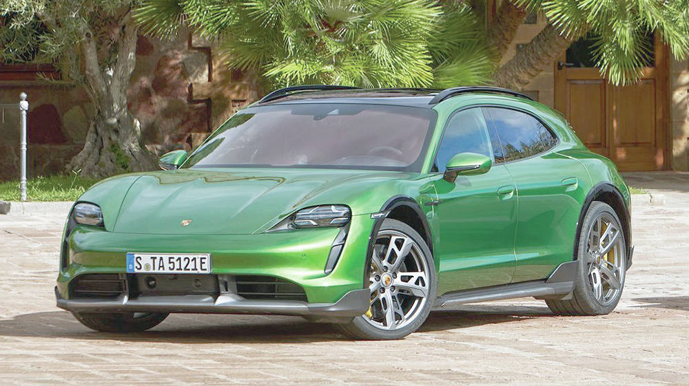 The Taycan Cross Turismo has a slightly hiked up ride height so the vehicle is free to takes its (up to) 750 horsepower off the pavement. PHOTO: PORSCHE
