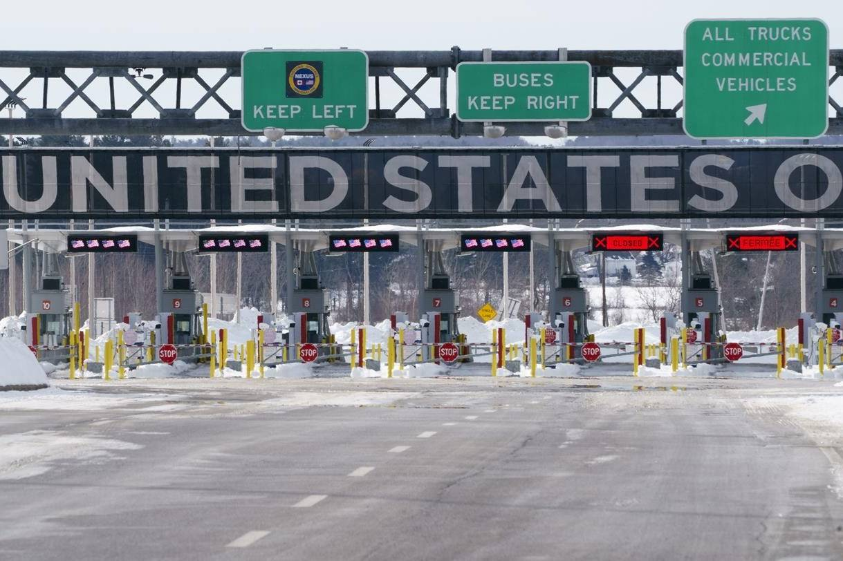 The border crossing into the United States is seen during the COVID-19 pandemic in Lacolle, Que. on February 12, 2021. THE CANADIAN PRESS/Paul Chiasson