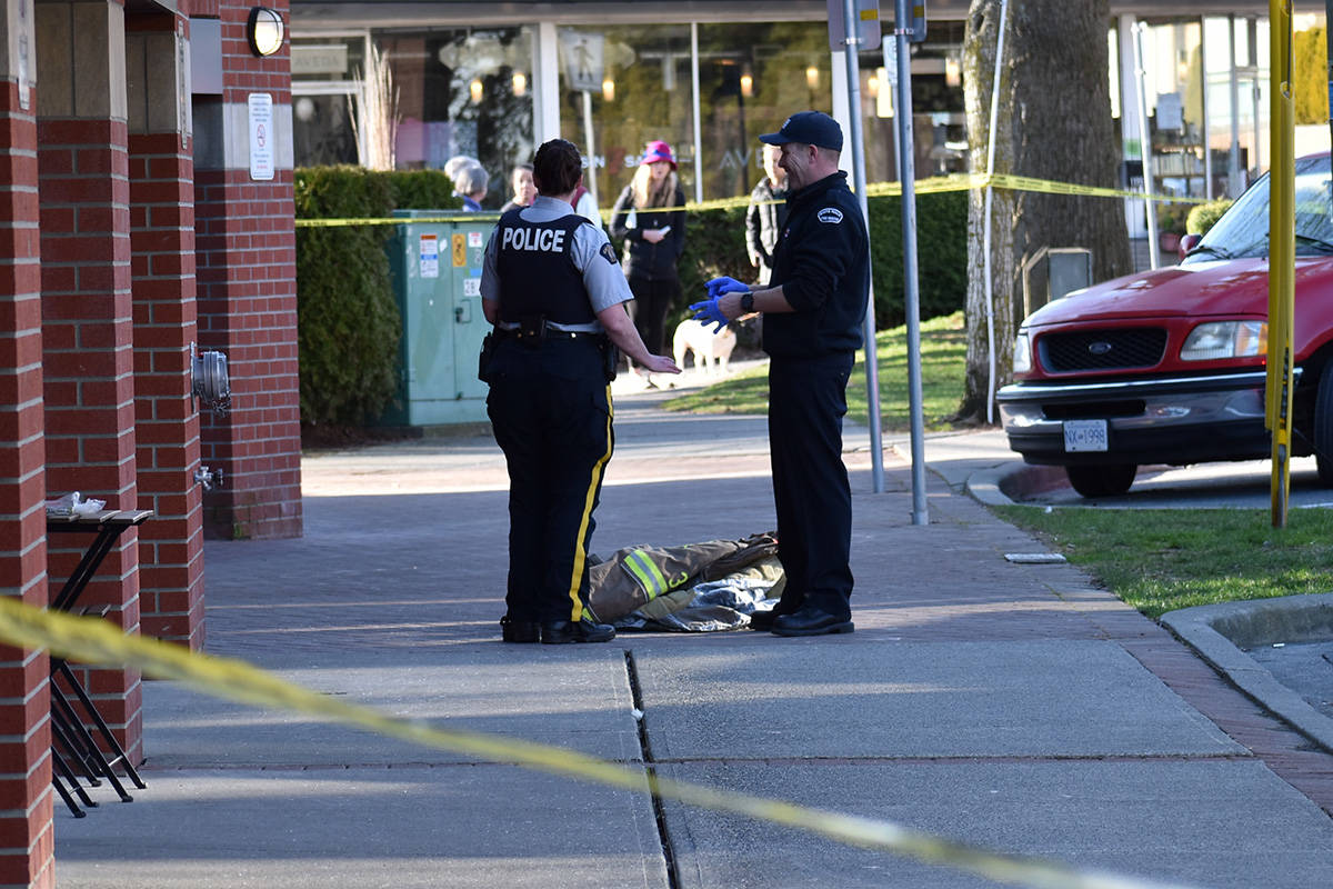 Police responded to White Rock's Five Corners district on Feb. 19, 2020 following an assault. (File photo)