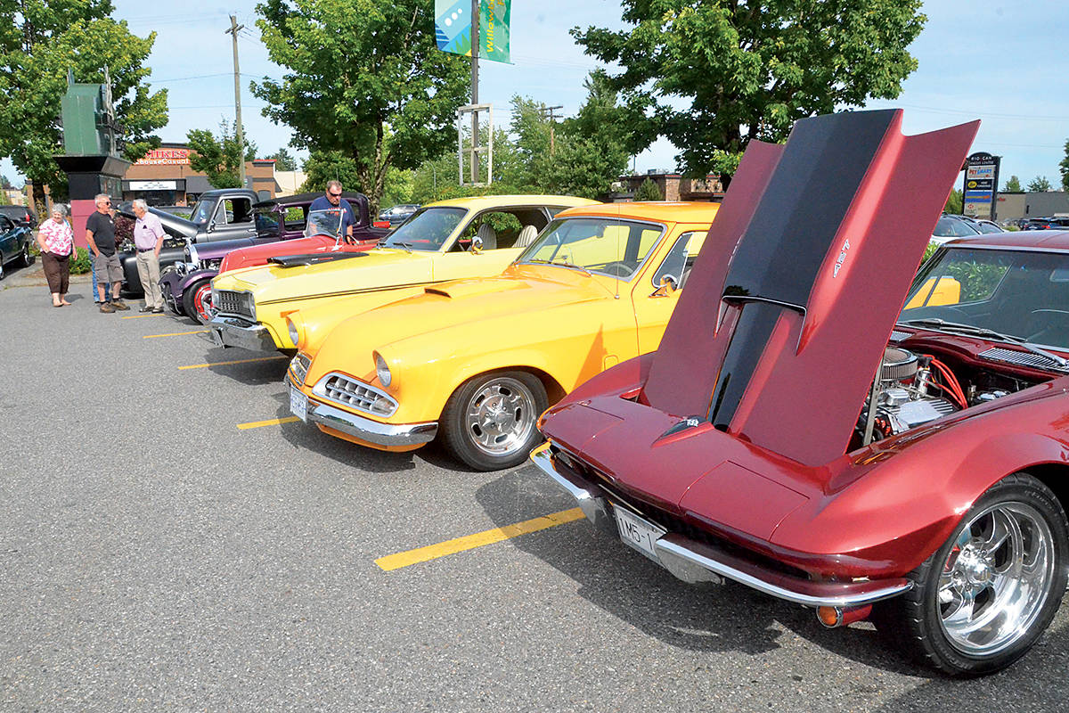 Classic cars and hot rods were on display in the parking lot of the former Pizza Hut on 200th Street in downtown Langley Friday. (Matthew Claxton/Langley Advance Times)