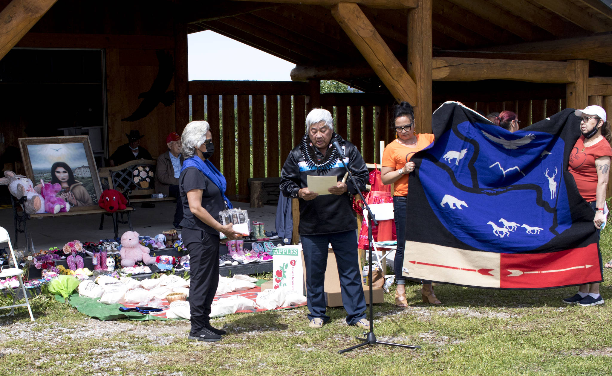 During the closing ceremony on June 20, Chiefs of different First Nation communities including Stellat'en First Nation, Nadleh Whut'en, Saik'uz First Nation, Lake Babine Nation and others were honoured with gifts. (Aman Parhar/Omineca Express)