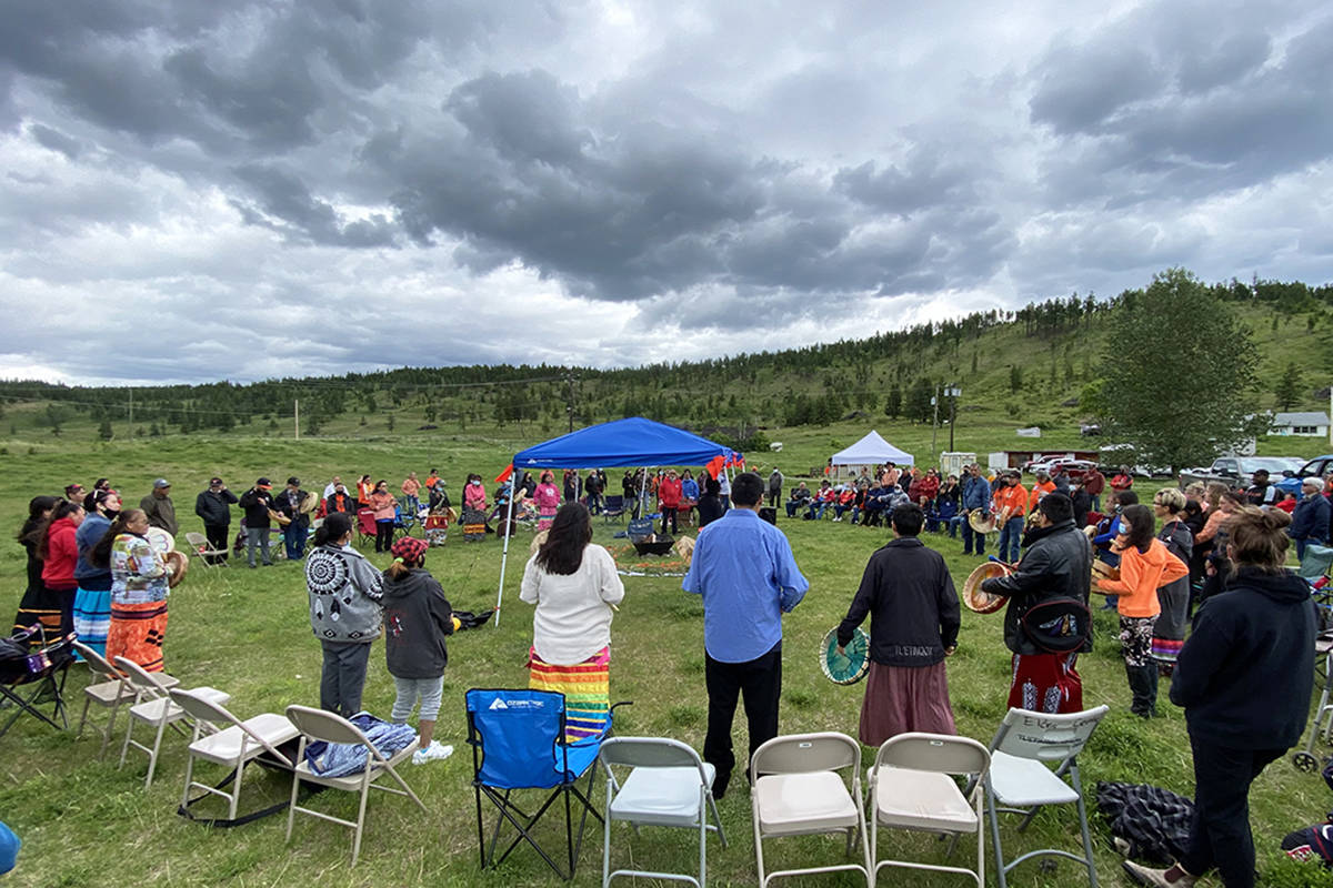 Tl'etinqox-lead ceremony at the site of the former St. Joseph's Mission in Williams Lake, B.C., June 18, 2021. (Angie Mindus photo - Williams Lake Tribune)