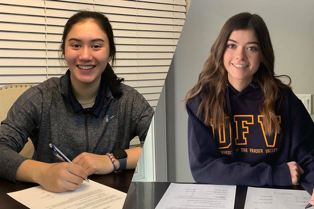 Langley's Coral Hamade and Alberta's Ella Gifford have signed with the UFV Cascades women's golf program. (Submitted)
