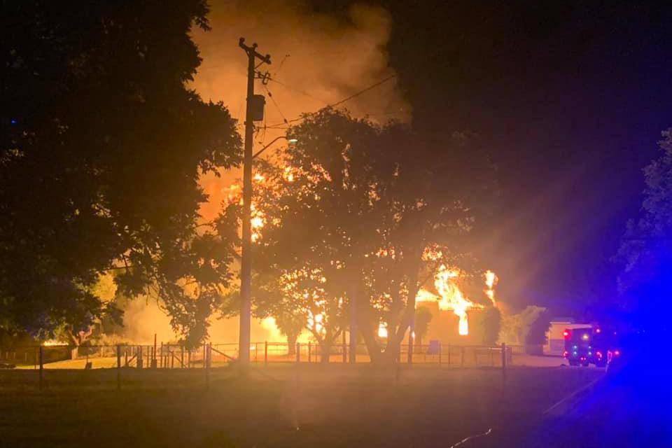 The Sacred Hearts church on PIB land burned Monday morning. (Theresa May Jack/Facebook)