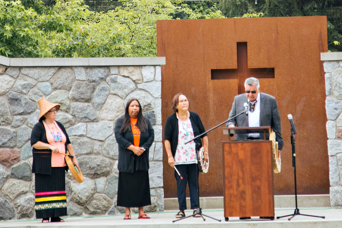 At Trinity Western University, (L-R) Patricia Victor, University Siya:m, stands with TWU alumna Kathleen Lounsbury, and Rev. Bruce Brown and wife Adeline Brown from Haida Gwaii. (Special to Langley Advance Times)