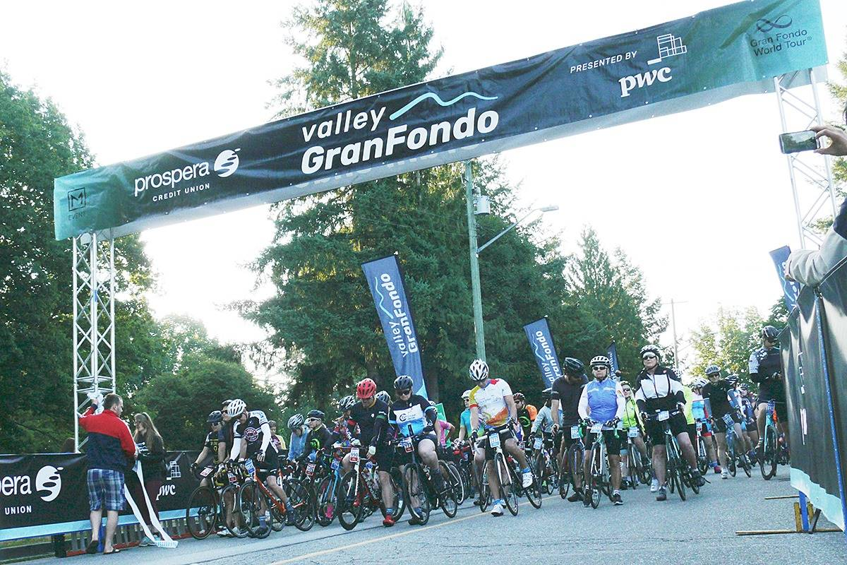Participants in the 2019 Valley GranFondo wait for the starting signal in 2019. The event, which had to be called off because of the pandemic, is tentatively set to resume in 2022. (Langley Advance Times file)