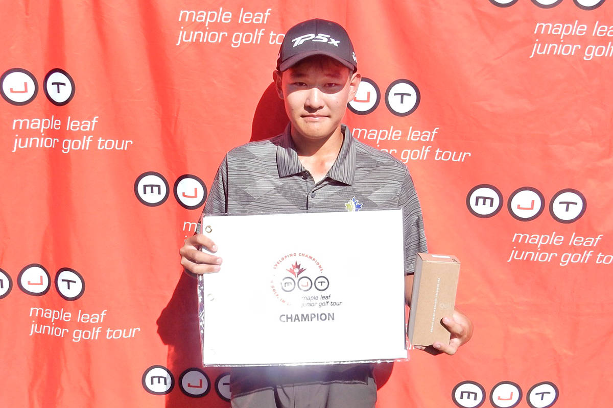 Langley golfer Danny Im was in a familiar place following his first-place win as the Maple Leaf Junior Golf Tour resumed its 2021 season on June 19 and 20 at Hazelmere Golf & Tennis Club in Surrey. (Special to Langley Advance Times)
