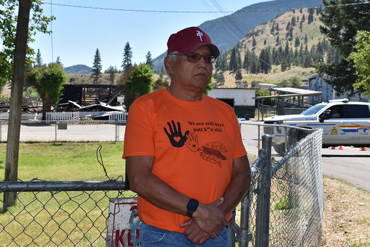 Penticton Indian Band Chief Greg Gabriel speaks to the Sacred Hearts Catholic Church burning down early Monday morning, June 21, 2021. (Monique Tamminga Western News)