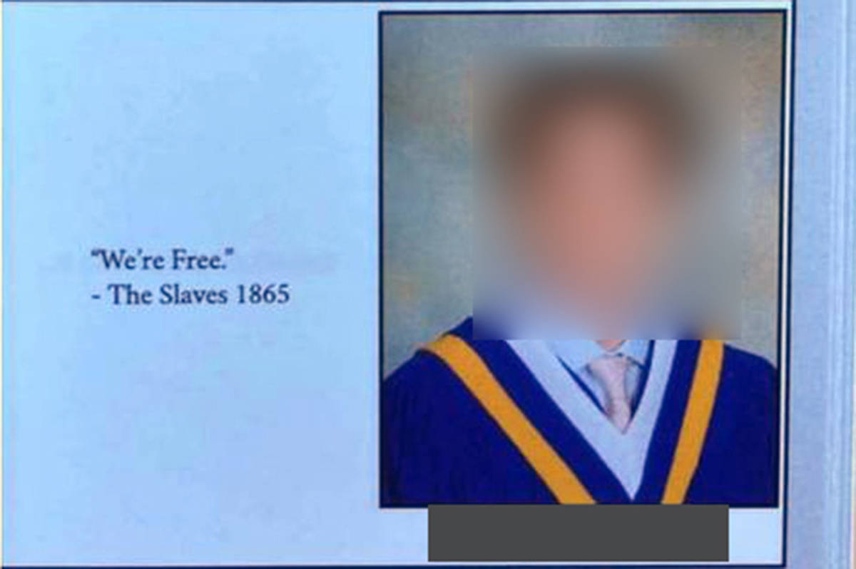 Chilliwack secondary school's principal is apologizing after a quote equating graduation with the end of slavery in the U.S. was included in the 2020-2021 yearbook. (Screenshot from submitted SnapChat)