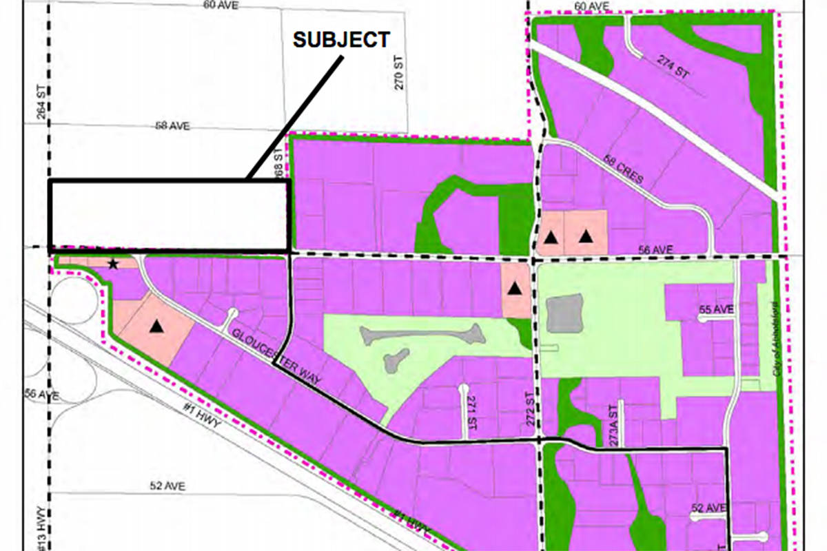 """Langley Township council is pondering changing the use of the indicated plot from agricultural to industrial. The purple lands are existing industrial lands in the Gloucester Industrial Park, and the dark green areas are ravines and rivers, and the light green areas were set aside for a """"golf course"""" that was never built and remain largely natural. (Township of Langley/Special to the Langley Advance Times)"""