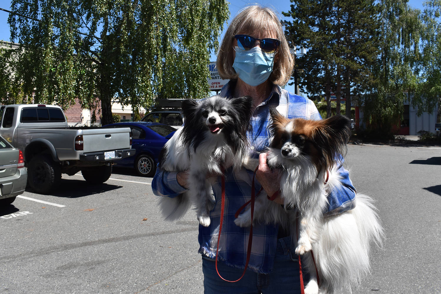 Sidney resident Martha Kenny, here seen with her papillons, Vapr and Daisey, would like to see the public take more care when it comes to transporting animals after witnessing a rottweiler fall out of a truck. (Wolf Depner/News Staff)
