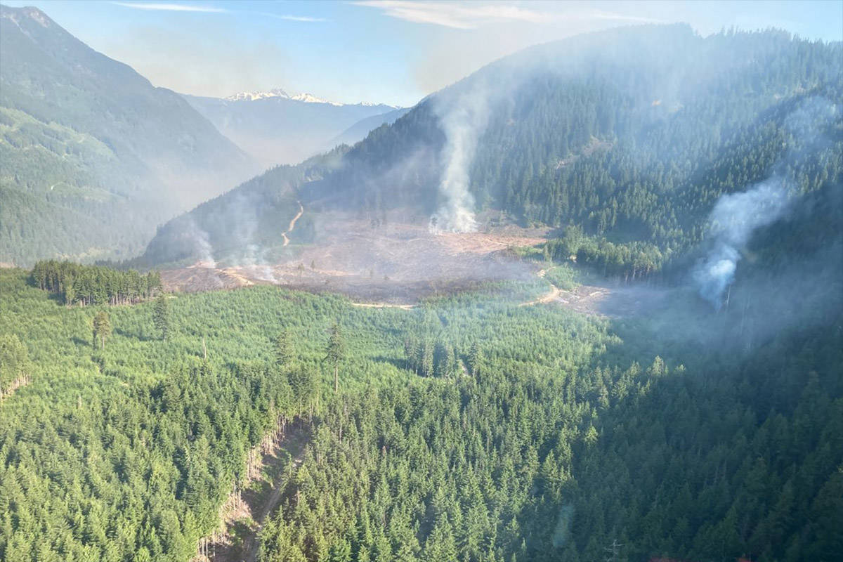 The Eleven Mile Creek fire southeast of Hope was visible from Highway 3 on June 22, 2021. (BC Wildfire Service photo)