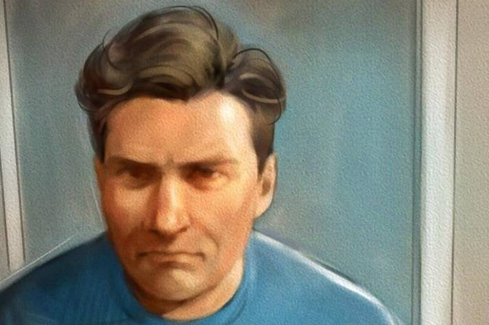 Paul Bernardo is shown in this courtroom sketch during Ontario court proceedings via video link in Napanee, Ont., on October 5, 2018. Teen killer and serial rapist Paul Bernardo is set for a parole hearing today. The designated dangerous offender, has been eligible for full parole for more than three years. Bernardo's horrific crimes in the 1980s and early 1990s include for kidnapping, torturing and killing Kristen French and Leslie Mahaffy near St. Catharines, Ont. THE CANADIAN PRESS/Greg Banning