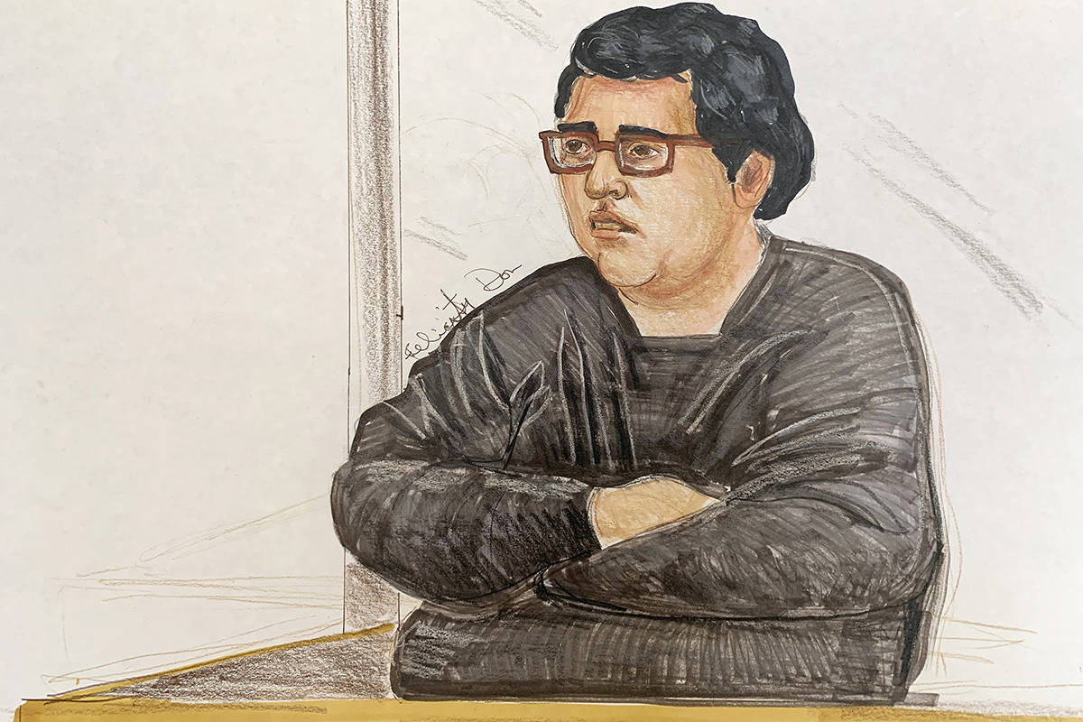 Gabriel Klein sits in the prisoner's dock during the first day of his trial on Oct. 7, 2019 in B.C. Supreme Court in New Westminster. (Sketch by Felicity Don)