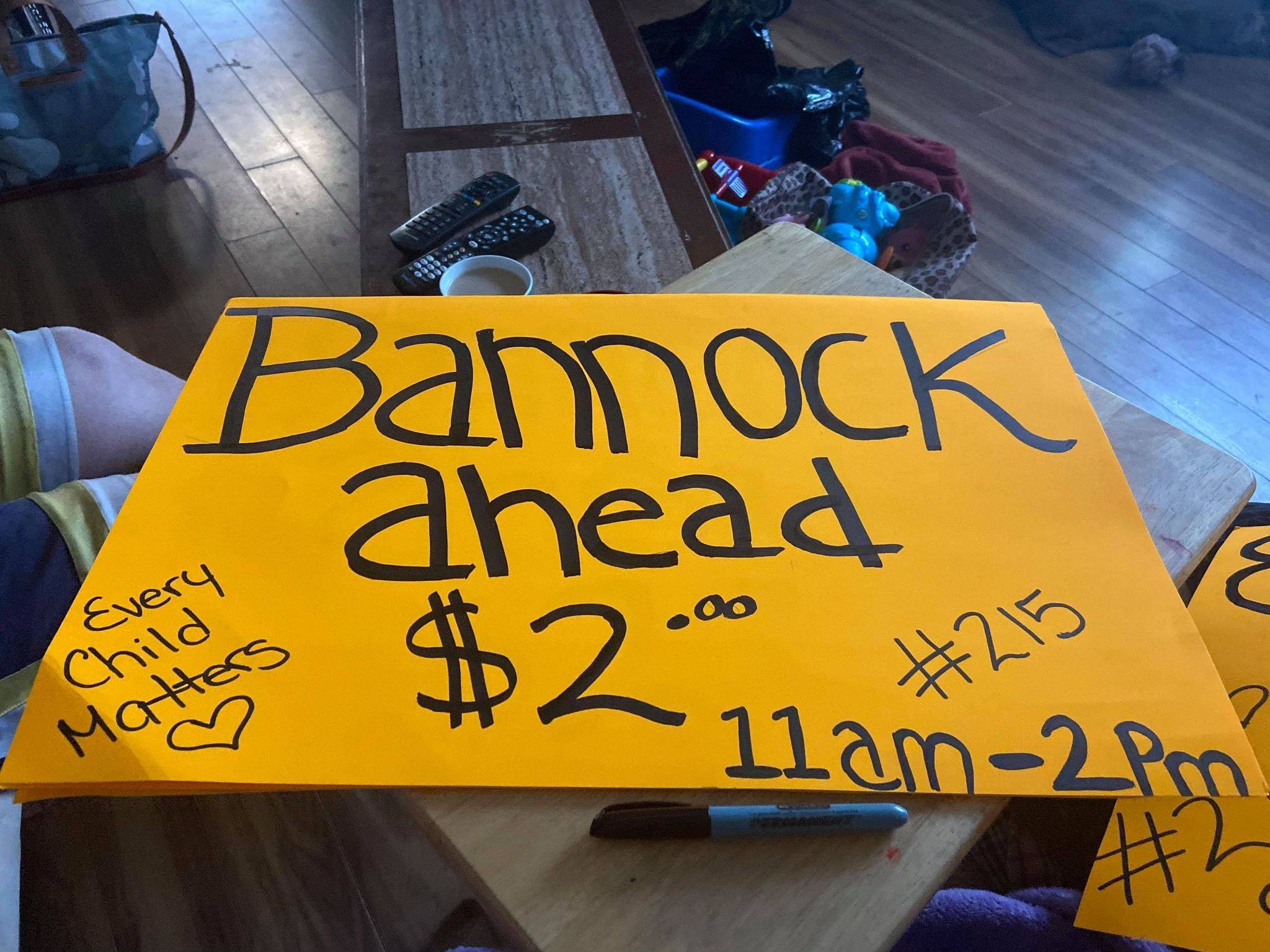 Jasmine Francis holds bannock sale for 215 children who died in Kamloops Residential School. (Photo submitted)