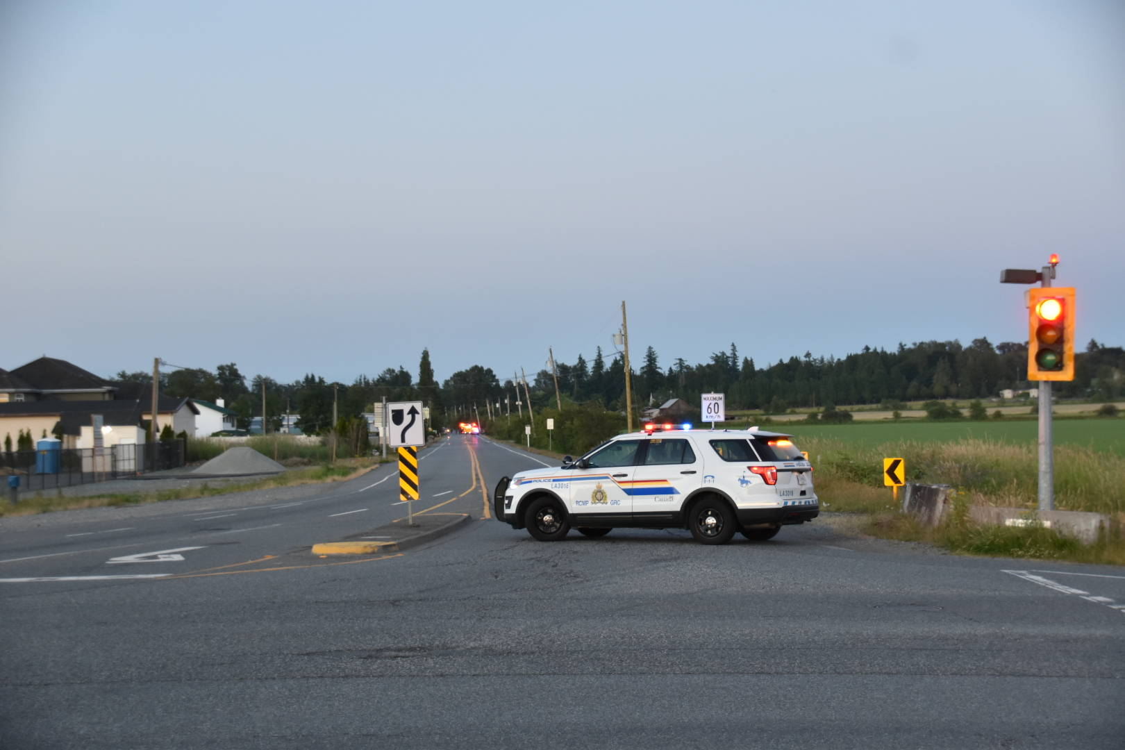 Township of Langley emergency crews responded to a single-vehicle crash in the 21900 block on 56th Avenue in the Murrayville area on June 23, 2021 around 8:45 p.m.. The two occupants in the vehicle were taken to hospital, one of which was a 2-year-old child who were airlifted to BC Children's Hospital. (Curtis Kreklau/Special to Langley Advance Times)
