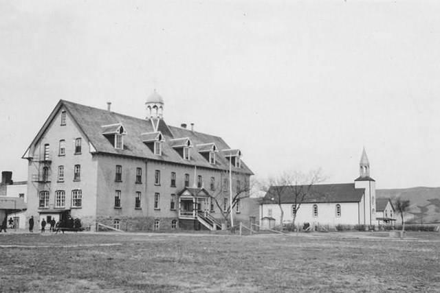 A 1956 photograph of the parish church in Marieval, Sask., is shown in this handout image provided by Société historique de Saint-Boniface. THE CANADIAN PRESS/HO-Société historique de Saint-Boniface *MANDATORY CREDIT*
