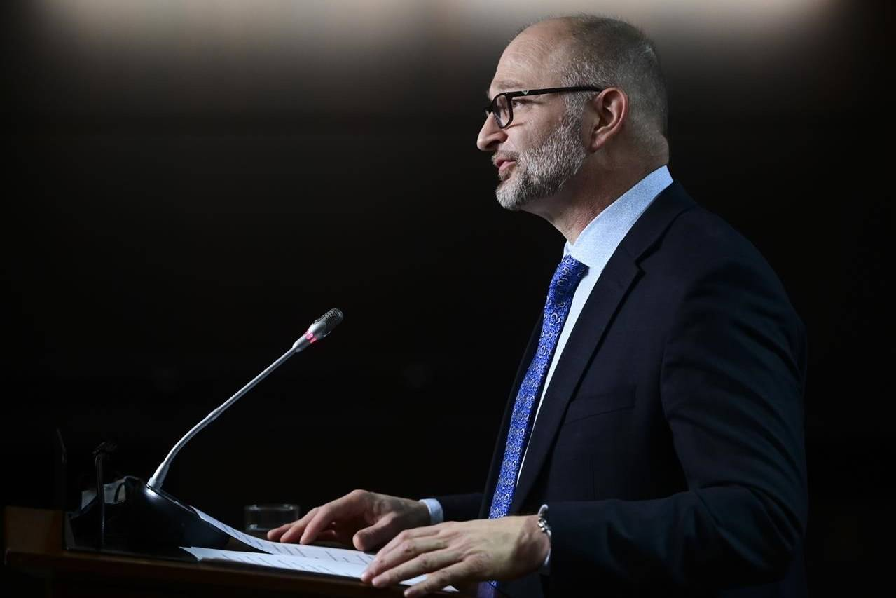 David Lametti, Minister of Justice and Attorney General of Canada speaks during a media availability on Parliament Hill in Ottawa Thursday, March 11, 2021. THE CANADIAN PRESS/Sean Kilpatrick