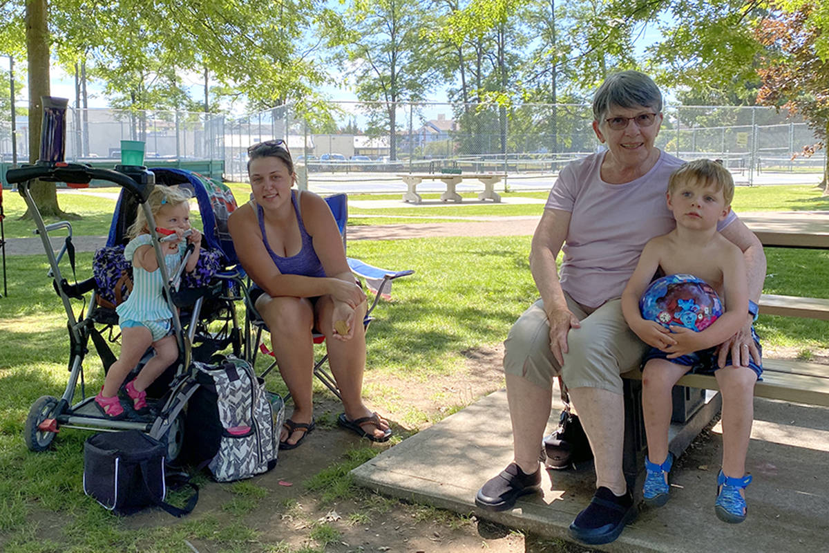 Kathleen visited her aunt Barb at Douglas Park on June 24, 2021. The family plans to return to the spray park on the weekend to cool off amid the heat wave. (Joti Grewal/Langley Advance Times)