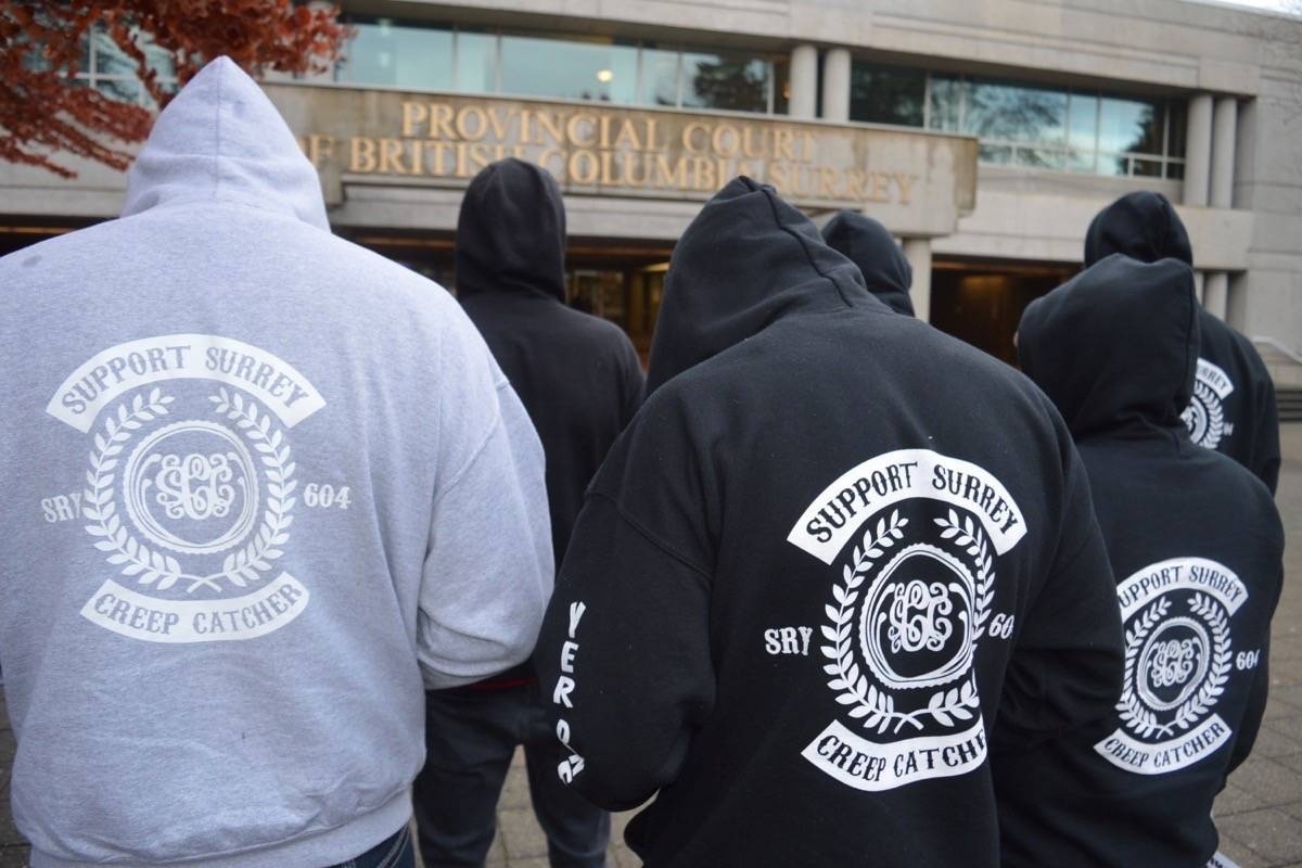 Supporters of Surrey Creep Catchers at a rally outside Surrey provincial court. (Tom Zytaruk photo)