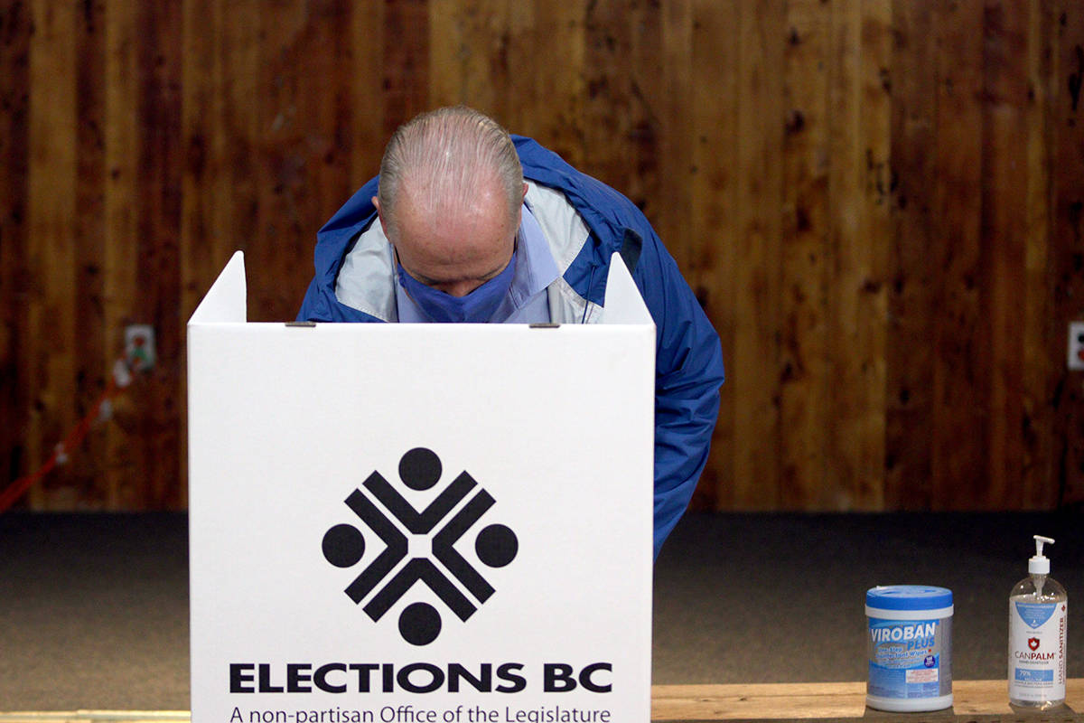 B.C. NDP Leader John Horgan votes at Luxton Hall during advance polls for the provincial election in Langford, B.C., Monday, Oct. 19, 2020. THE CANADIAN PRESS/Chad Hipolito
