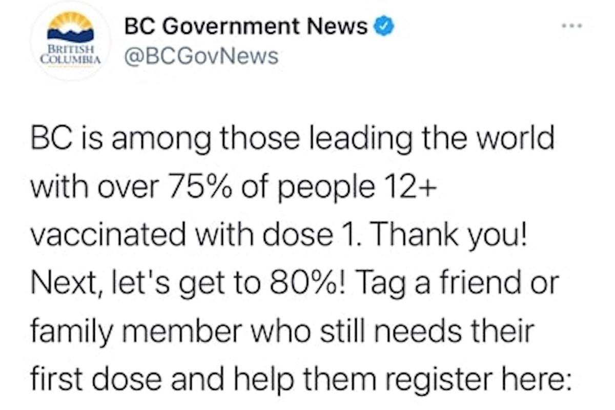 The government tweet, which was posted on June 24, has since been deleted. (Twitter/Screen shot)