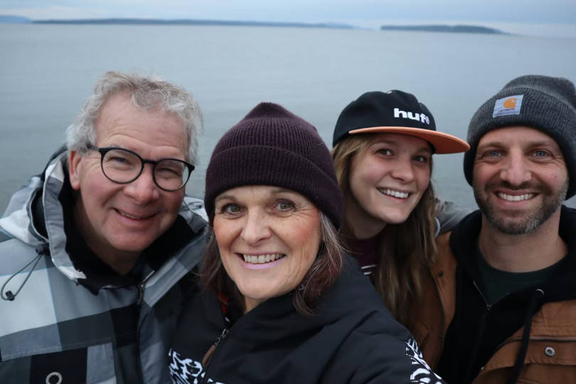 Kevin Walker, left, Shawna Walker, Kate Coles and Mick Coles enjoy Christmas Day at the beach. (Courtesy Kate Coles)
