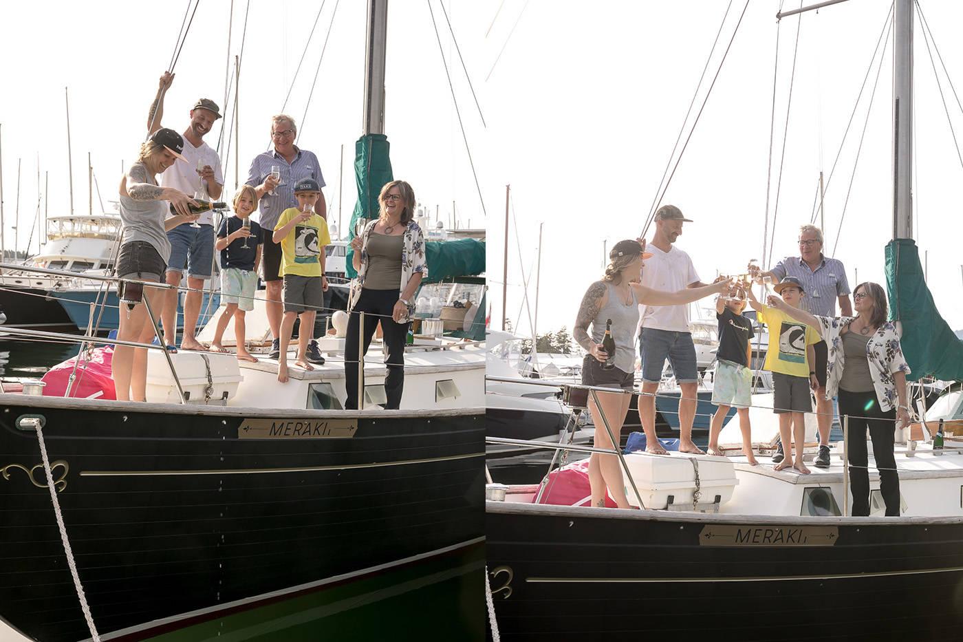 The family celebrates getting Meraki in the water. (Courtesy Kate Coles)