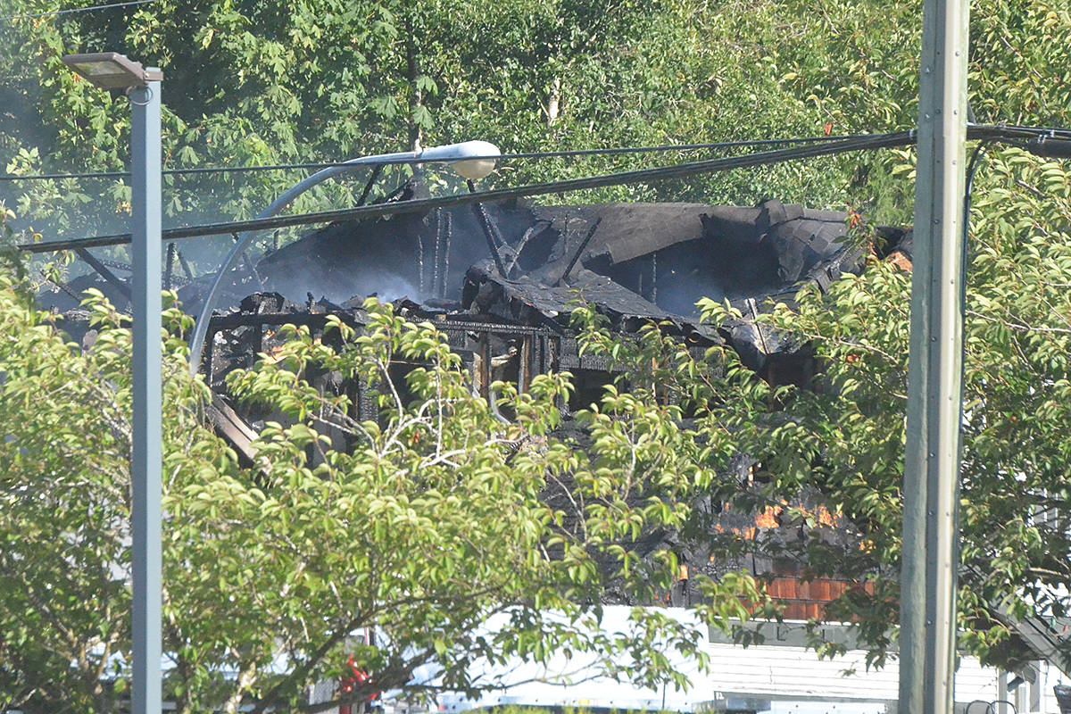 The roof of the house near Langley Fundamental largely collapsed. (Matthew Claxton/Langley Advance Times)