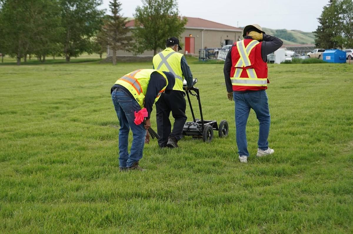 A ground-penetrating radar is used to record hits of what are believed to be 751 unmarked graves near the grounds of the former Marieval Indian Residential School on the Cowessess First Nation, Sask. THE CANADIAN PRESS/HO, FSIN