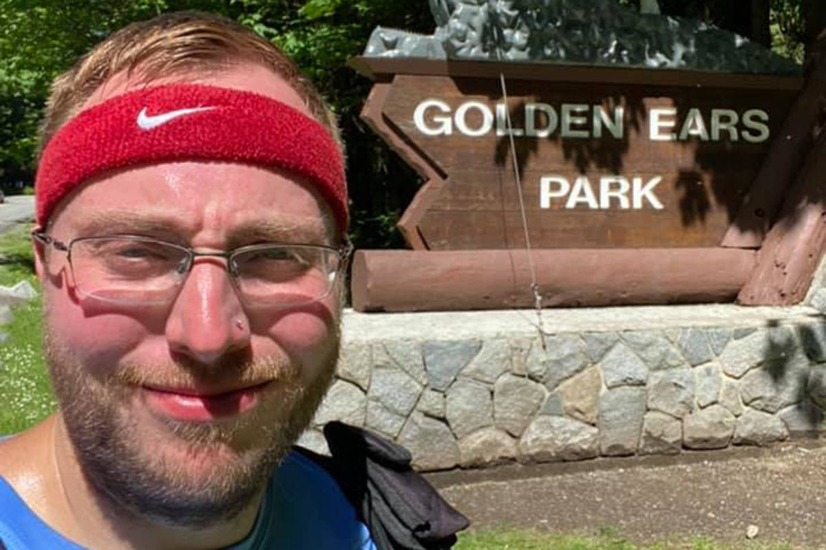 Teacher Myke Koe after walking the 55 kilometres from Mission to Maple Ridge's Golden Ears Provincial Park on May 29. Facebook photo.