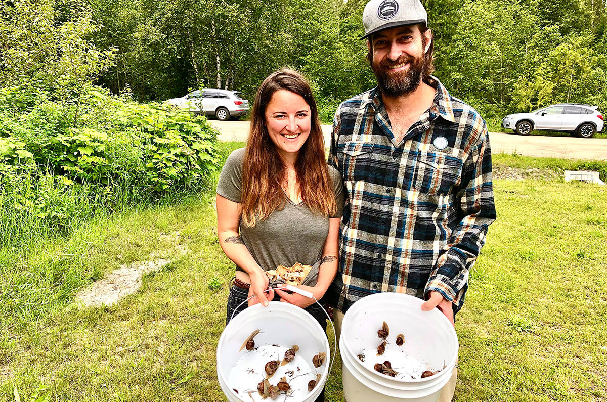Susie and Tyler Kathol after a good foraging haul. (Liam Harrap - Revelstoke Review)