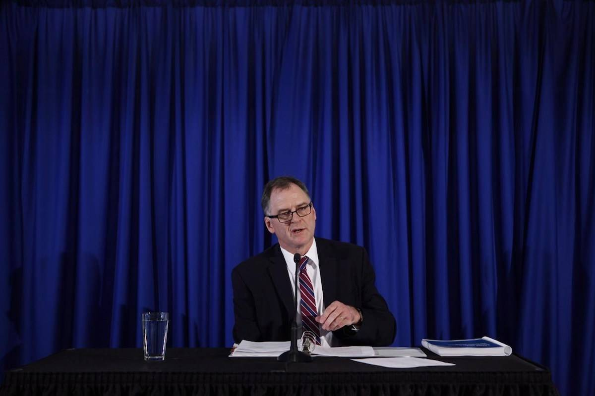 Ombudsperson Jay Chalke speaks during a press conference in Victoria, Thursday, April 6, 2017. THE CANADIAN PRESS/Chad Hipolito