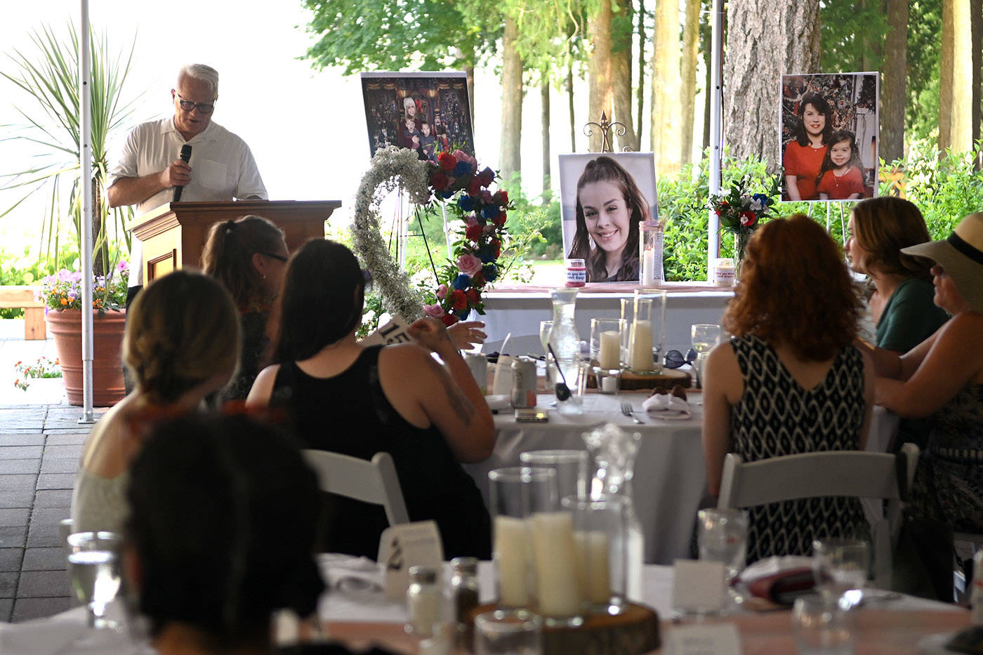 Danny Evans, uncle of 23-year-old Shaelene Bell, was the emcee at Bell's celebration of life at Sandpiper Resort on Saturday, June 26, 2021. (Jenna Hauck/ Chilliwack Progress)