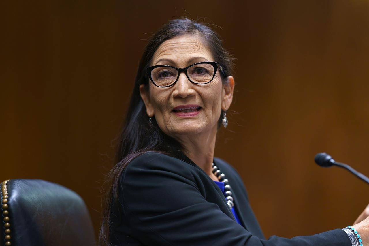 Interior Secretary Deb Haaland appears before the Senate Appropriations Committee on Capitol Hill in Washington, Wednesday, June 16, 2021. Haaland, the first Indigenous cabinet member in U.S. history, launched an investigation last week into the history of Indigenous residential schools in the United States — a move prompted by the tragic discovery of unmarked graves at former school sites in Canada. THE CANADIAN PRESS/AP/J. Scott Applewhite