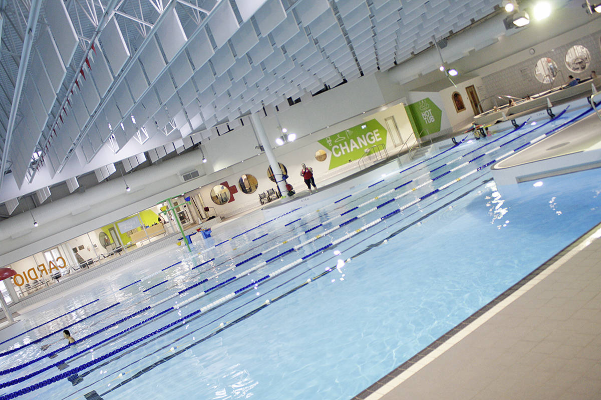 Visitors remarked on how much brighter the W.C Blair pool feels after renovations that installed white cieling sound deflectors and tile as part of an extensive re-do of the 1986-era facility. Dan Ferguson Langley Times