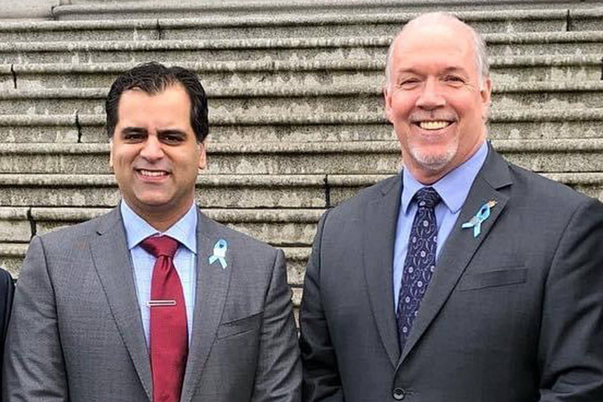 Aly Devji (pictured above with Premier John Horgan) starts his new position as Langley Lodge CEO on July 19, 2021. (Special to Langley Advance Times)