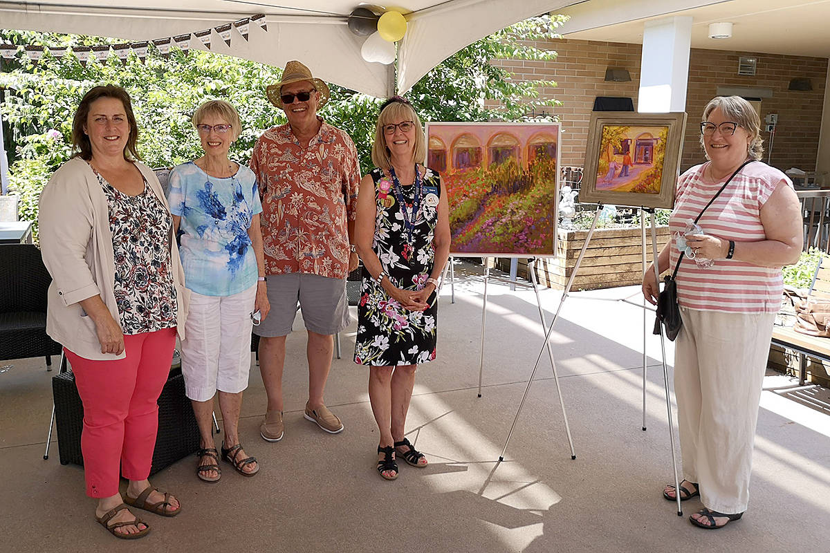 After a dozen years at the helm of Langley Lodge care home, Debra Hauptman is retiring. The Langley Care Society board (Laura Swagele, Hilda Van Bergen, Rudy Storteboom, and Diane Oulton) joined her for a recent send off. (Special to Langley Advance Times)
