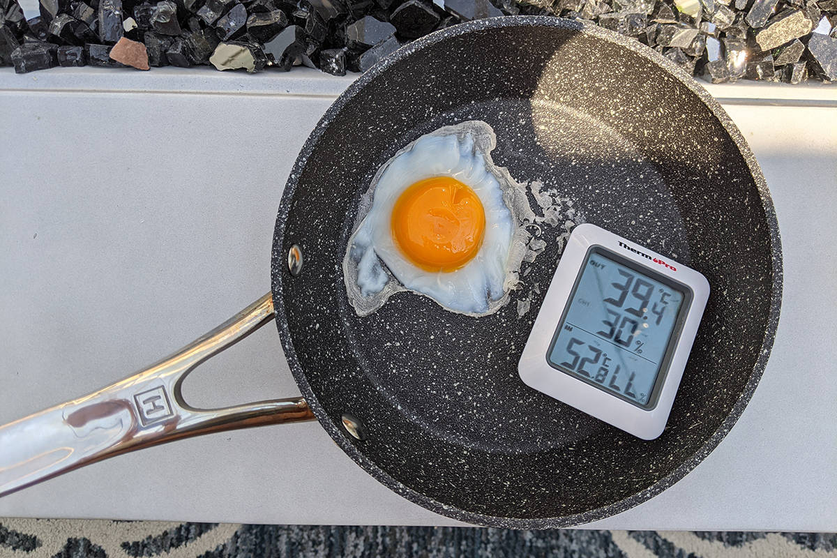 On Monday, June 28, Langley Advance Times reader Karen Roeck proved it was literally hot enough to fry an egg outdoors. (Special to Langley Advance Times)