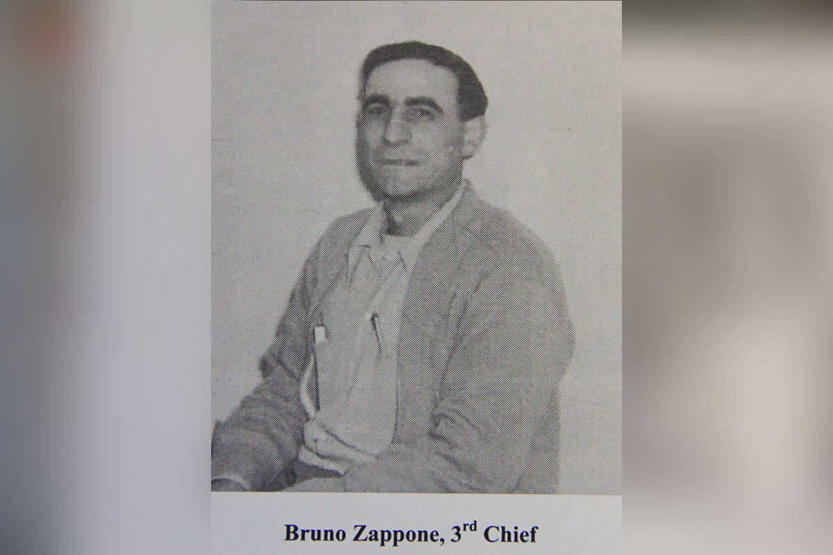 Bruno Zappone, third volunteer fire chief, is seen in an image from a book about the history of the Cloverdale Volunteer Fire Brigade. (Image via Alan Clegg)