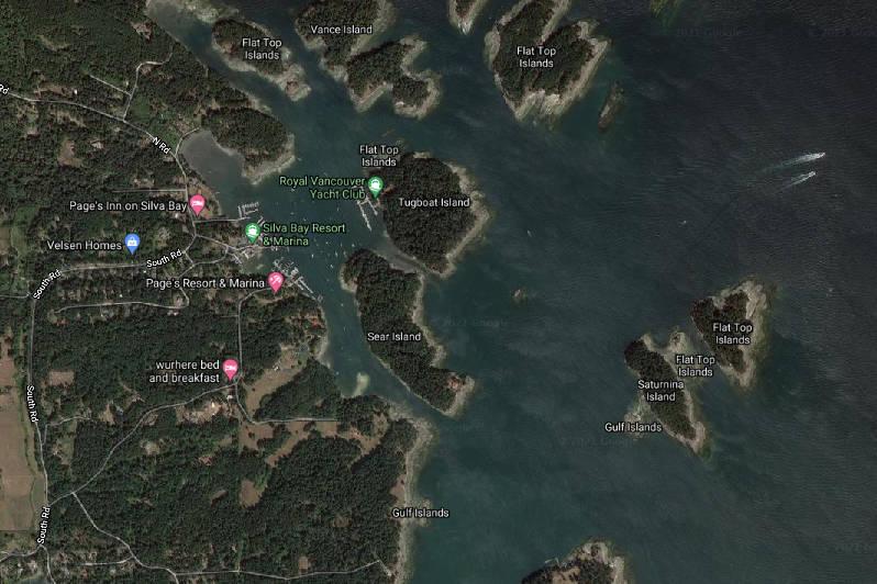 Saturnina Island is situated off the east coast of Gabriola Island. (Google Maps image)