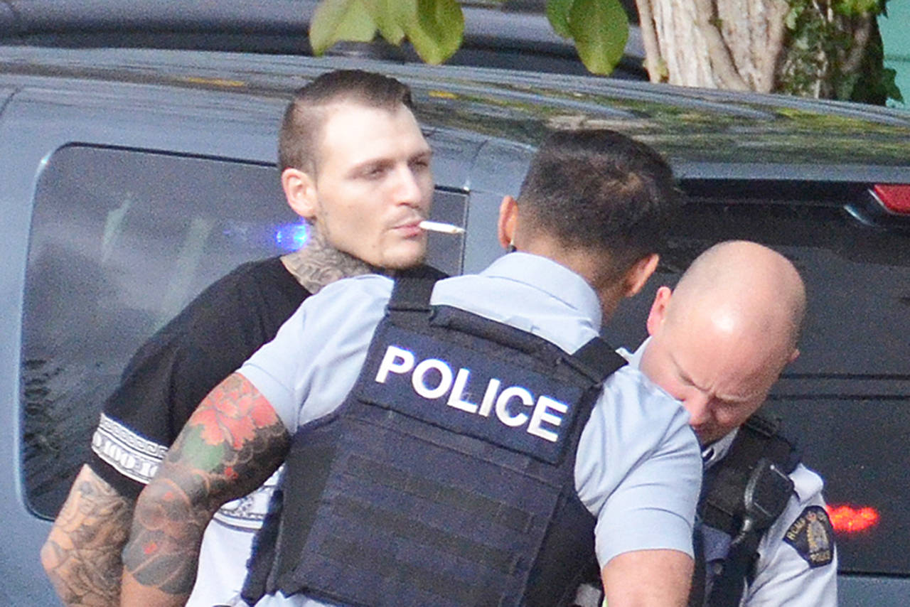 David Allen Geoghegan, seen here being arrested on an outstanding warrant on Nov. 2, 2018, was again arrested on a B.C.-wide warrant in May. (Paul Henderson/ The Progress file)