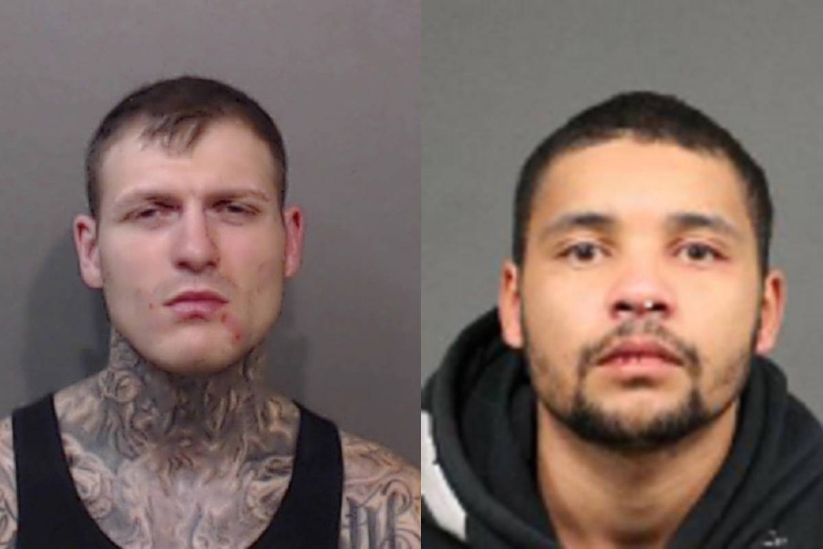 As of June 28, 2021, David Allen Geoghegan, 31, (left) and Darius Calvin Ray Commodore, 24, are charged with the murder of Jordan Christopher Smyth on Halloween 2019, either late Oct. 31, 2019 or in the early hours of Nov. 1, 2019. (RCMP file)
