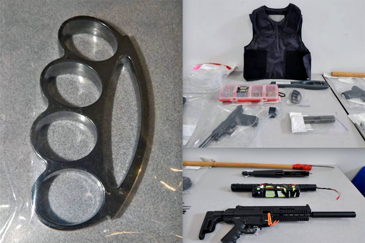 Some of the items seized during a police raid on a Langley City condo on June 23. (RCMP photos)