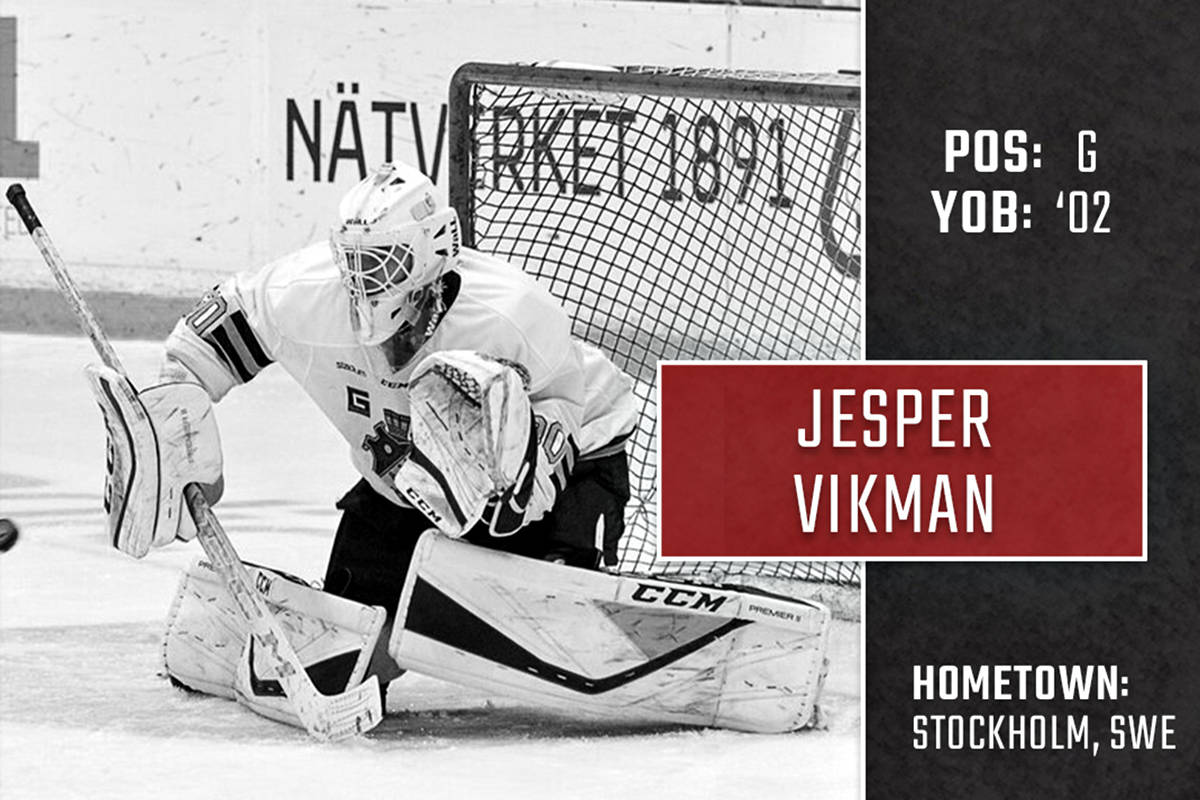 Jesper Vikman is the third Swedish-born player ever selected by the Giants in the CHL Import Draft. (Giants graphic by Jamison Derksen)