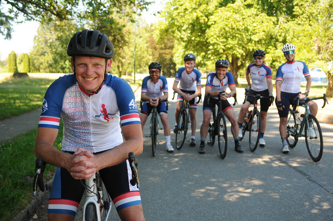 Members of the Fraser Valley Try Like Terry team, including Terry Fox's brother Darrell Fox (foreground) are gearing up for their 410-kilometre Ride of Hope fundraiser on July 3, 2021. (Jenna Hauck/ Chilliwack Progress)